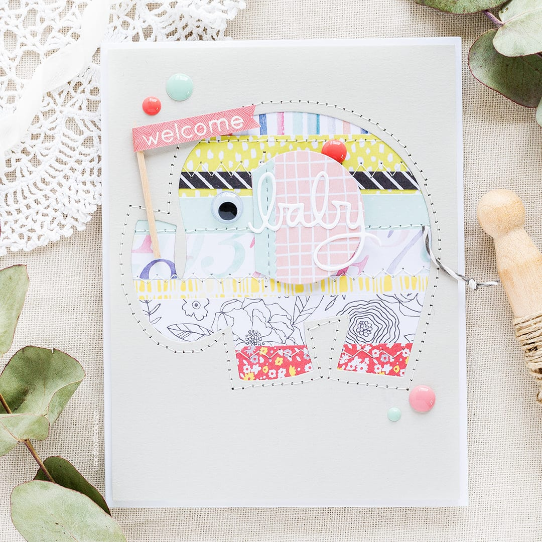 Inspiration series part II by Debby Hughes - negative paper piecing handmade elephant baby card. Find out more https://limedoodledesign.com/2017/06/negative-paper-piecing-inspiration-series-part-ii/