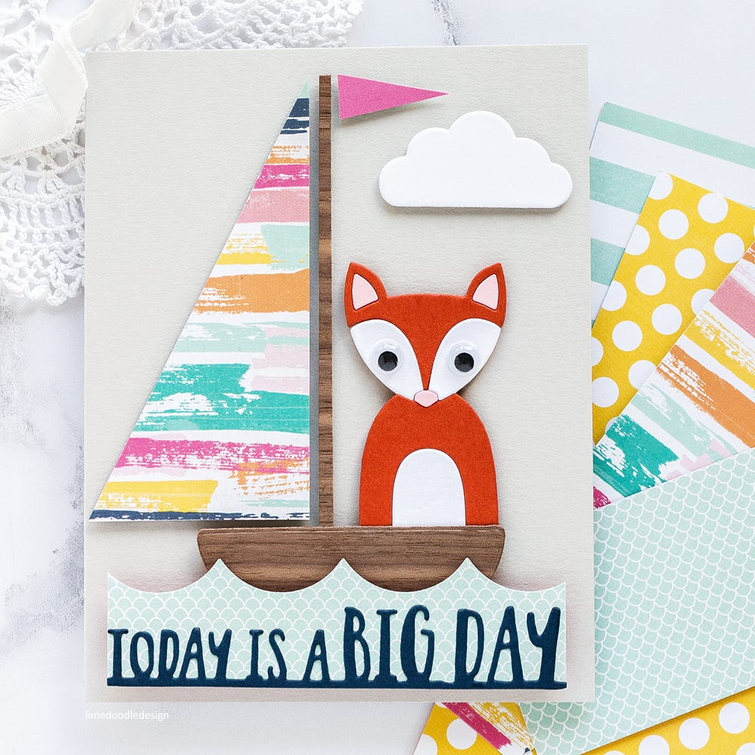 The picture book fox die from Simon Says Stamp makes for a classic take on a children's card. Find out more about this handmade card by Debby Hughes by clicking on the following link: https://limedoodledesign.com/2017/06/the-dies-have-it-simon-says-stamp-new-release-hop-giveaway/