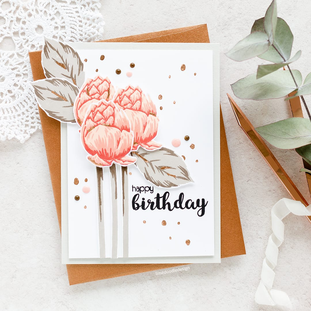 Autumn flowers by Debby Hughes - using a muted colour scheme to stretch our beautiful flower stamps from the spring and summer to the autumn months. Find out more about this handmade card: https://limedoodledesign.com/2017/07/autumn-flowers/