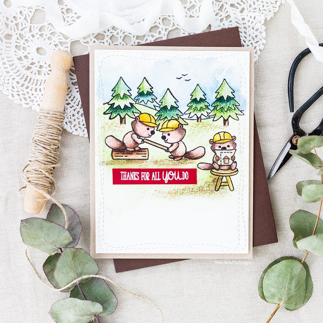 Cute busy beavers handmade card by Debby Hughes. Find out more here https://limedoodledesign.com/2017/07/thanks-for-all-you-do-watercolour-coloured-pencils/