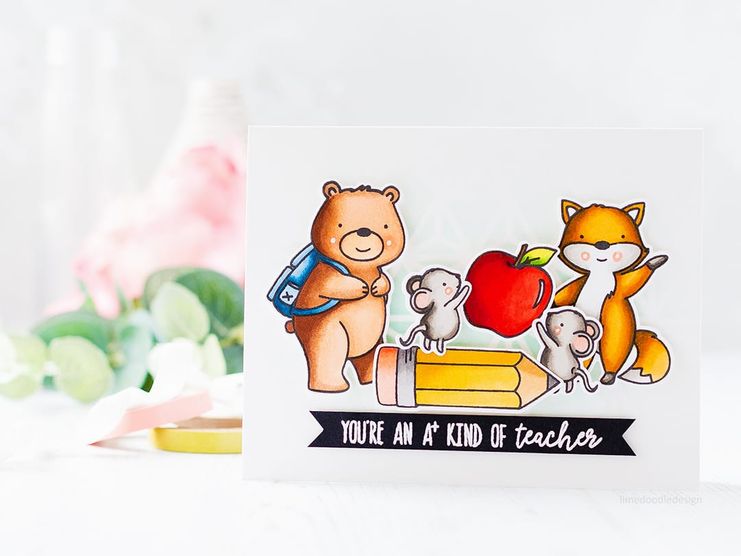 Teacher appreciation card by Debby Hughes. Find out more about this handmade card: https://limedoodledesign.com/2017/07/youre-an-a-kind-of-teacher/