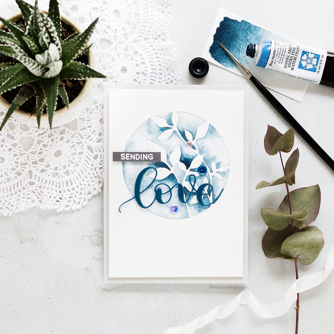Handmade card trio by Debby Hughes inspired by the beautiful watercolours of Emily Jeffords. Find out more https://limedoodledesign.com/2017/07/negative-painting-botanicals/
