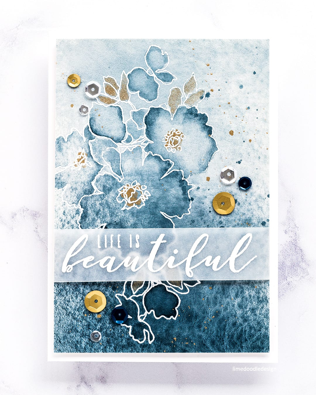 Watercoloured tone on tone card by Debby Hughes using the new August release from Altenew. Find out more here: https://limedoodledesign.com/2017/08/altenew-august-2017-release-blog-hop-day-2-giveaway/