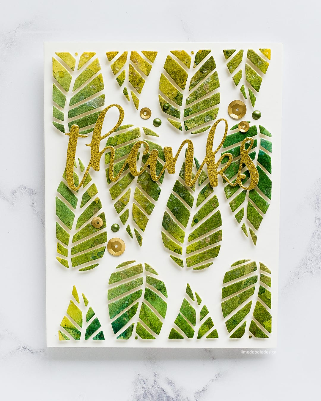 Watercoloured striped leaves thank you card by Debby Hughes using the new August release from Altenew. Find out more here: https://limedoodledesign.com/2017/08/altenew-august-2017-release-blog-hop-day-2-giveaway/