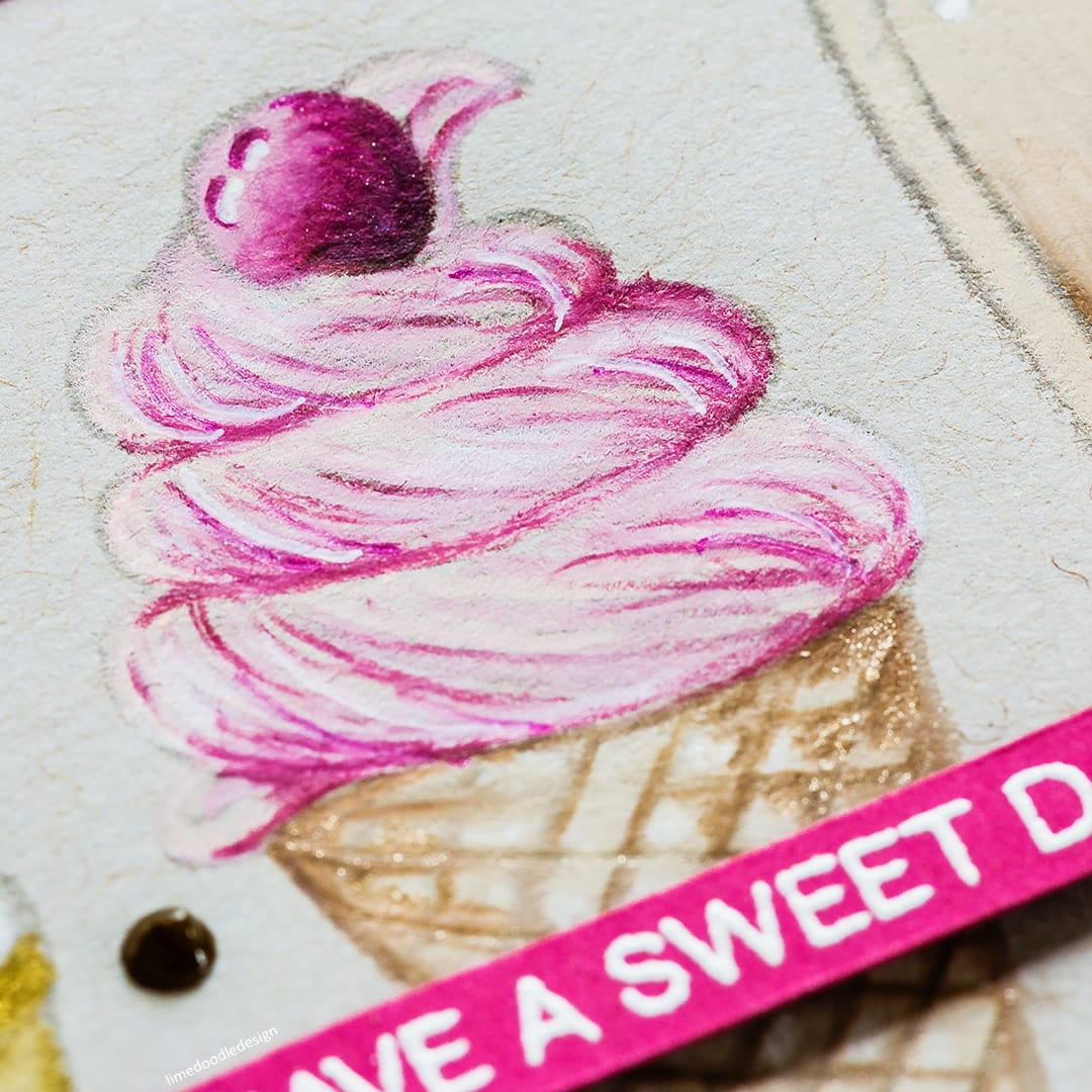 Pencil colouring on kraft card for this ice cream trio handmade card by Debby Hughes. Find out more here: https://limedoodledesign.com/2017/08/pencil-colouring-on-kraft/