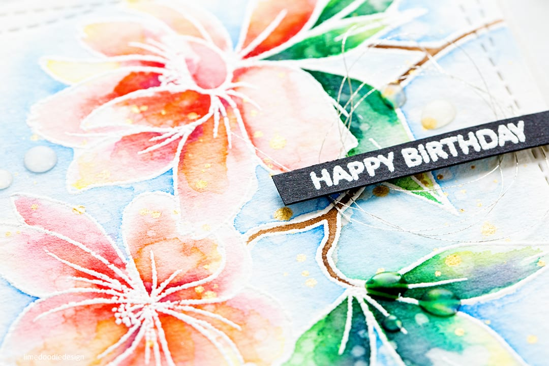 Watercoloured flower handmade birthday card by Debby Hughes using stamps from Clearly Besotted and watercoloured with Tonic Nuvo Aqua Flow Pens. Find out more about this handmade card here: https://limedoodledesign.com/2017/08/new-clearly-besotted-release-tonic-nuvo-aqua-flow-pens/