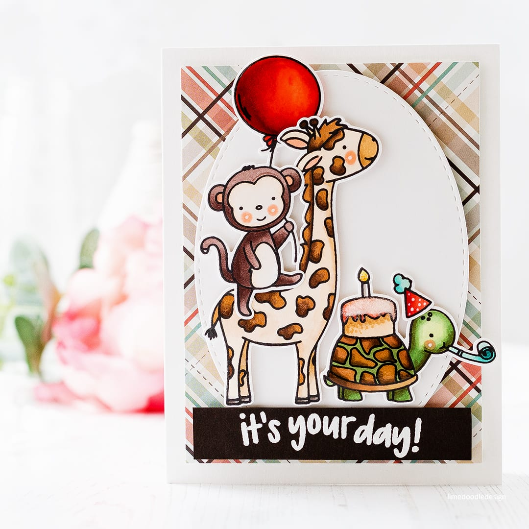 Cute critters birthday card by Debby Hughes to celebrate Neat & Tangled's 5th birthday. Find out more about this handmade card here: https://limedoodledesign.com/2017/08/happy-birthday-neat-tangled-new-release/