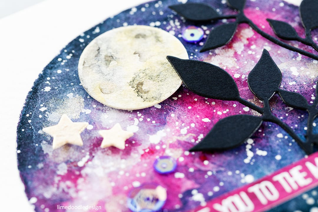 "Galaxy watercolour ""I love you to the moon and back"" handmade card by Debby Hughes. Find out more here: https://limedoodledesign.com/2017/08/galaxy-watercolour/"
