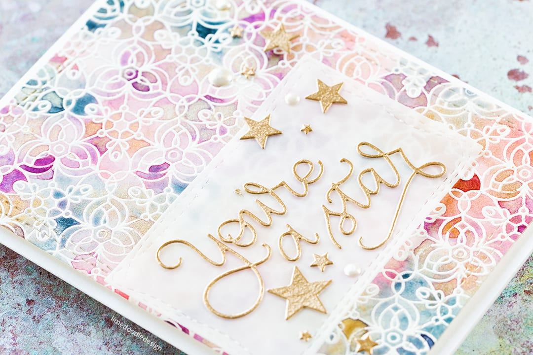 You're A Star, Emboss Resist Watercolour handmade card by Debby Hughes. Find out more here: https://limedoodledesign.com/2017/08/emboss-resist-watercoloured-background/