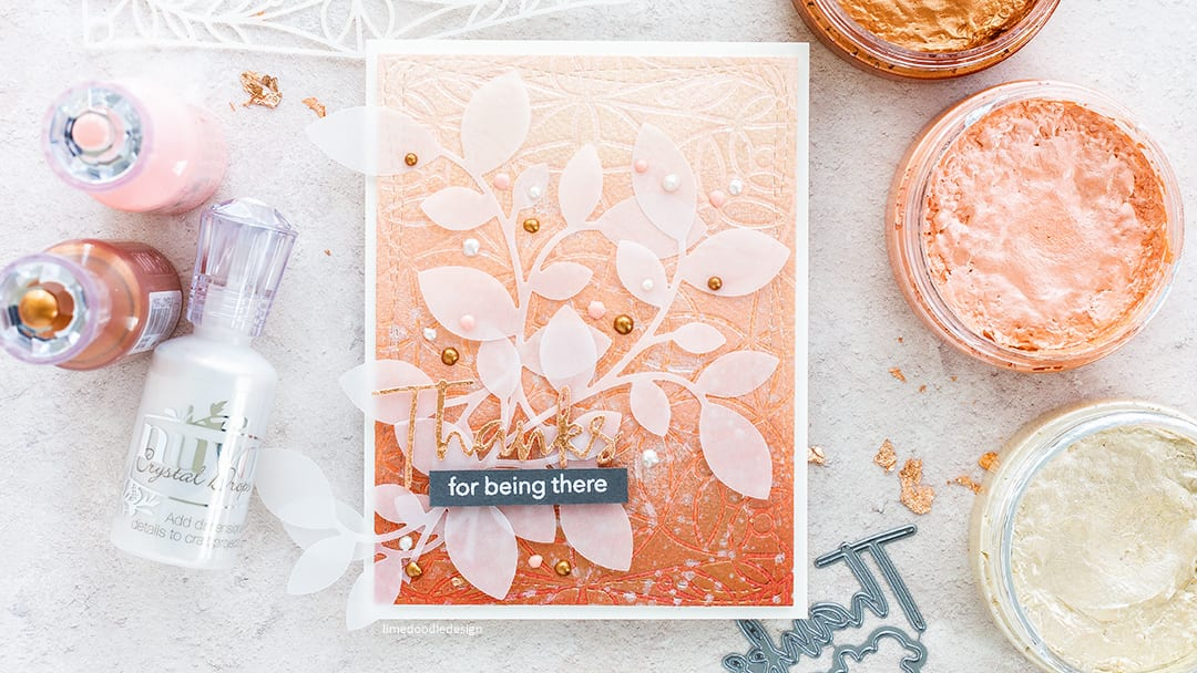 Embossing With A Stencil - handmade autumn thanks card by Debby Hughes. Find out more here: https://limedoodledesign.com/2017/08/embossing-with-a-stencil/