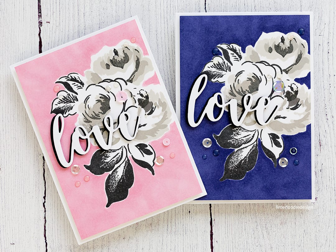 Cath Kidston etched floral inspired handmade cards using the new Altenew Winter Rose stamp set. Find out more about these cards here: https://limedoodledesign.com/2017/09/altenew-september-2017-release-blog-hop-day-1-giveaway/