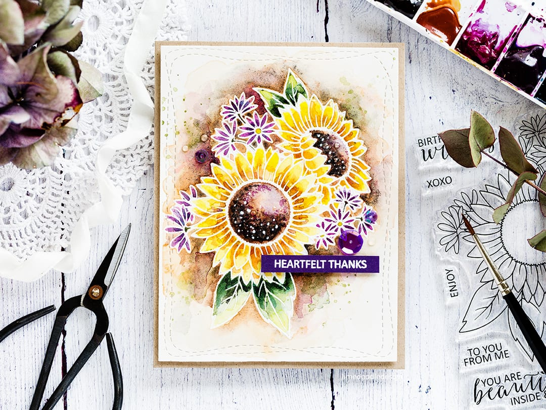 30 Day Coloring Challenge Blog Hop – Watercoloured Sunflowers + Giveaway