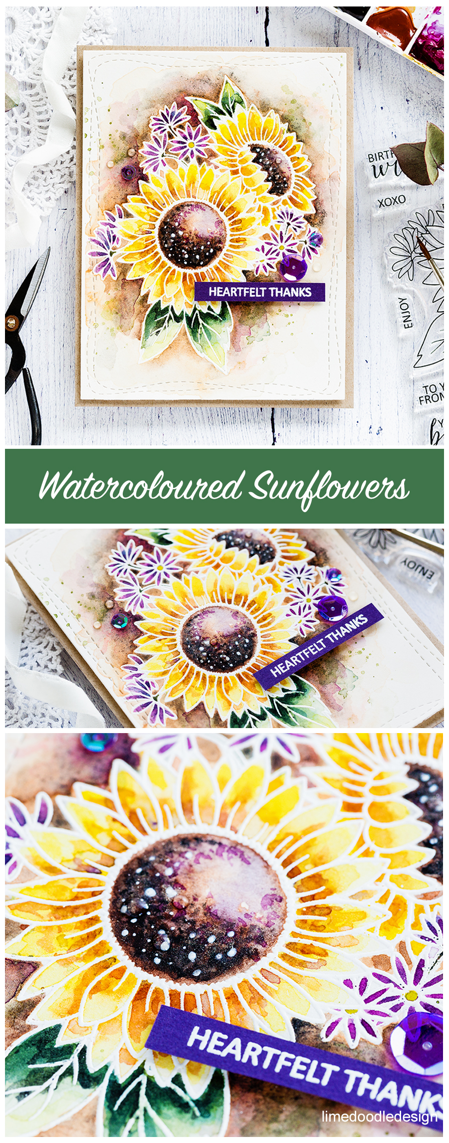 Watercoloured sunflowers handmade card by Debby Hughes for the 30 Day Coloring Challenge Blog Hop. Find out more here: https://limedoodledesign.com/2017/09/30-day-coloring-challenge-blog-hop-watercoloured-sunflowers-giveaway/