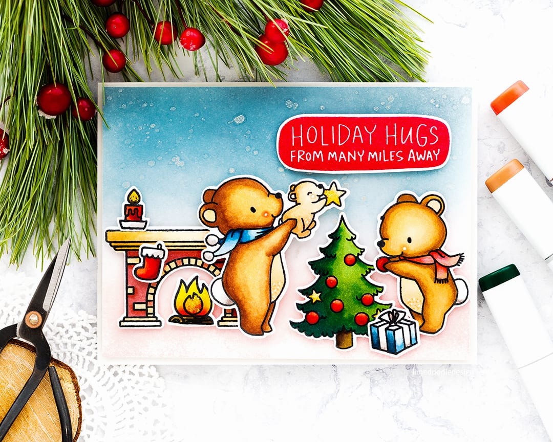 The cutest Holiday handmade cards by Debby Hughes using the Mama Elephant A Beary Christmas set. Find out more here: https://limedoodledesign.com/2017/09/mama-elephant-stampede-cute-christmas-scenes/