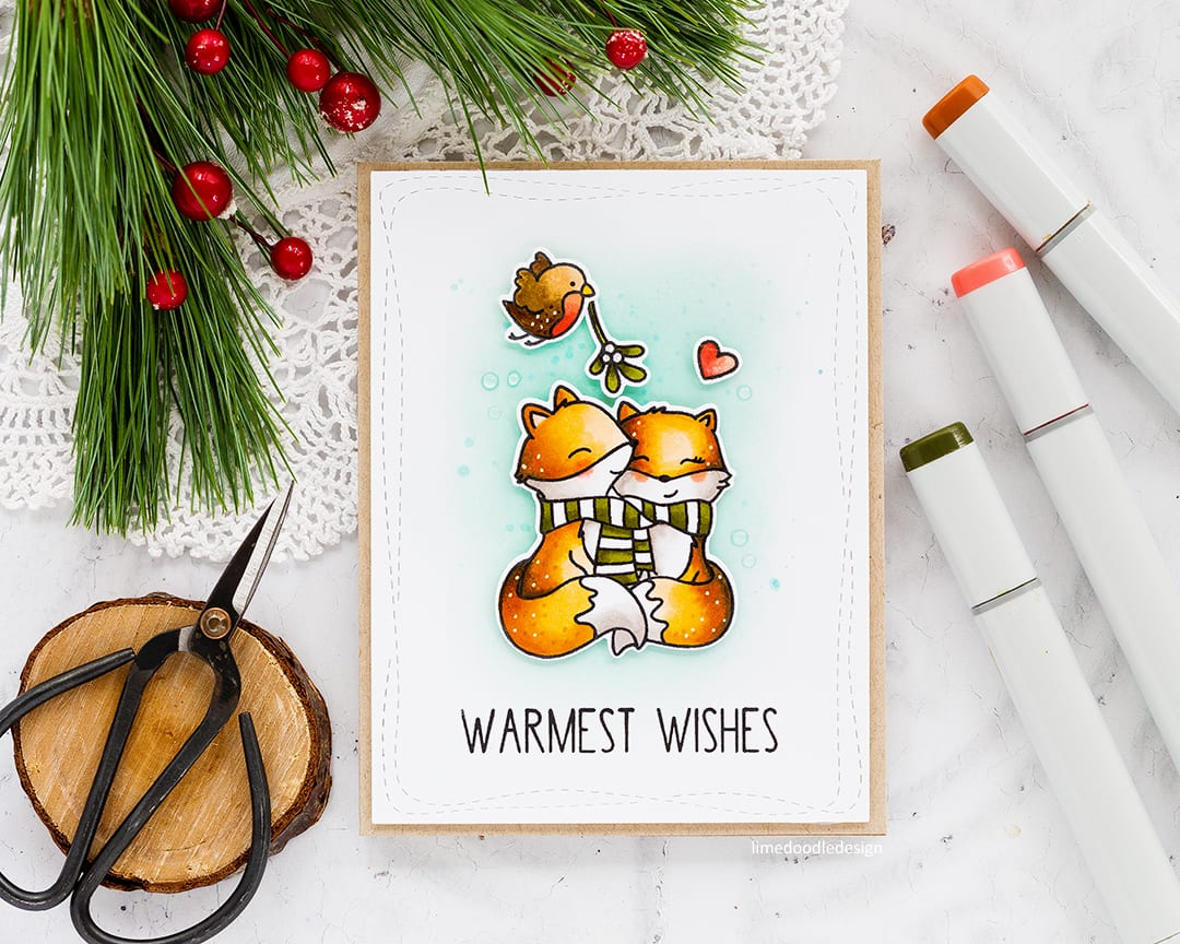 Cute, clean and simple Christmas card by Debby Hughes using the new Merry Kisses set from Neat & Tangled. Find out more here: https://limedoodledesign.com/2017/09/clean-simple-cute-christmas-card-giveaway-winner/