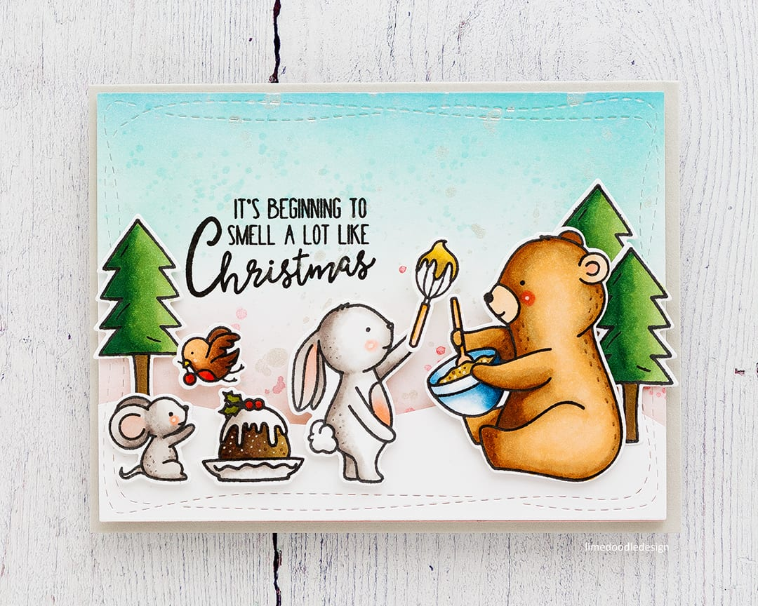 Cute Holiday baking handmade Christmas card by Debby Hughes using the Neat & Tangled Holiday Baking set. Find out more here: https://limedoodledesign.com/2017/09/holiday-baking/