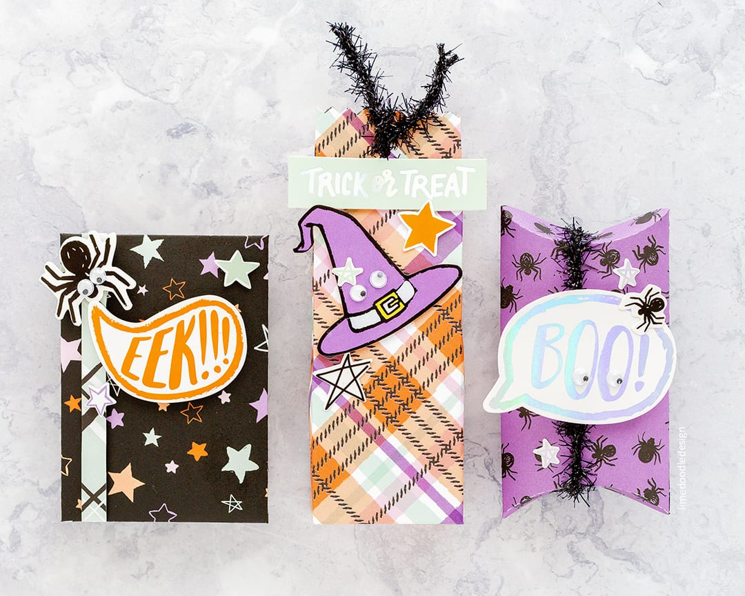 Creepy cute Halloween treat boxes by Debby Hughes using the special edition card kit from Simon Says Stamp. Find out more here: https://limedoodledesign.com/2017/09/simon-says-stamp-special-edition-halloween-2017-card-kit/