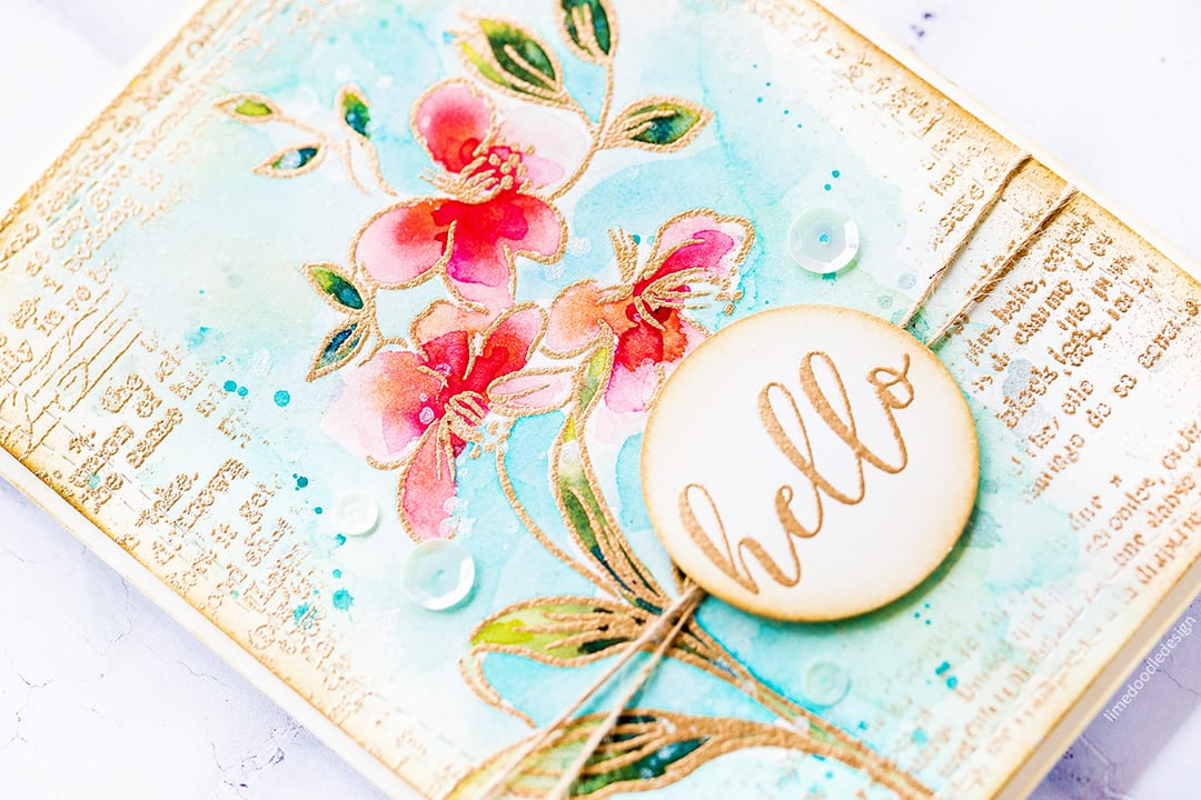 Vintage watercoloured floral hello handmade card by Debby Hughes using the Altenew STAMPtember Fabulous You set. Find out more here: https://limedoodledesign.com/2017/09/altenew-stamptember/