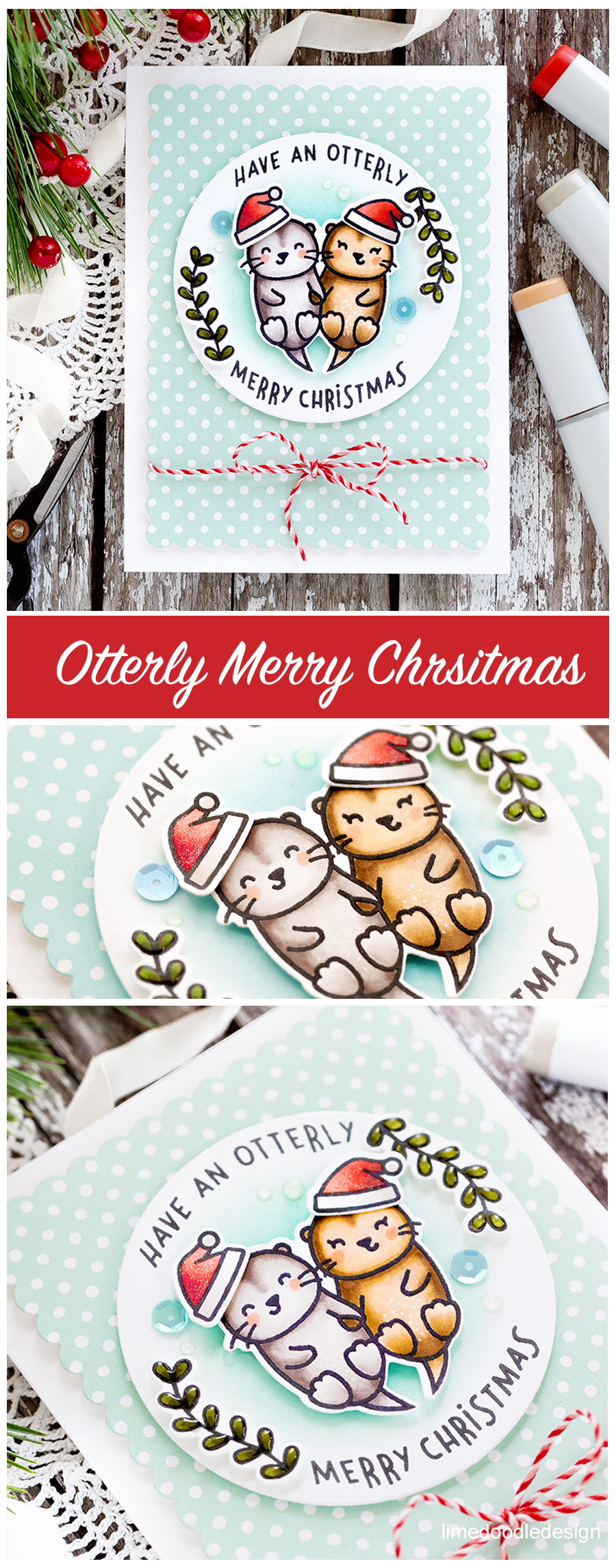 The much anticipated and always highly popular Lawn Fawn STAMPtember 2017 set - Christmas Like No Otter. Handmade card by Debby Hughes. Find out more here: https://limedoodledesign.com/2017/09/lawn-fawn-stamptember/