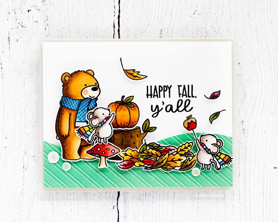 Cute fall handmade card by Debby Hughes using the new Hello Pumpkin STAMPtember collaboration set from Neat & Tangled. Find out more about this card here: https://limedoodledesign.com/2017/09/neat-tangled-stamptember/
