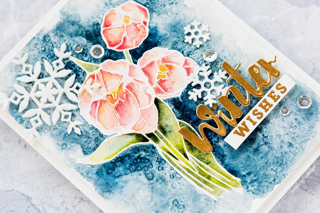 Watercoloured winter florals handmade card by Debby Hughes using the Wplus9 STAMPtember stamp set. Find out more here: https://limedoodledesign.com/2017/09/wplus9-stamptember-winter-florals/