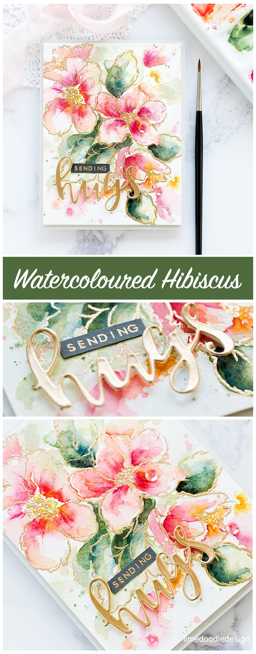 Watercoloured Hibiscus handmade card by Debby Hughes using the Altenew Hibiscus Burst stamp set and Rose Gold embossing powder. Find out more here: https://limedoodledesign.com/2017/10/altenew-october-2017-release-blog-hop-giveaway/
