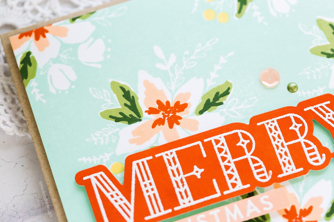 Vintage inspired handmade Christmas cards using the Concord & 9th Blooms Fill In set. Find out more here: https://limedoodledesign.com/2017/10/vintage-inspired-christmas/