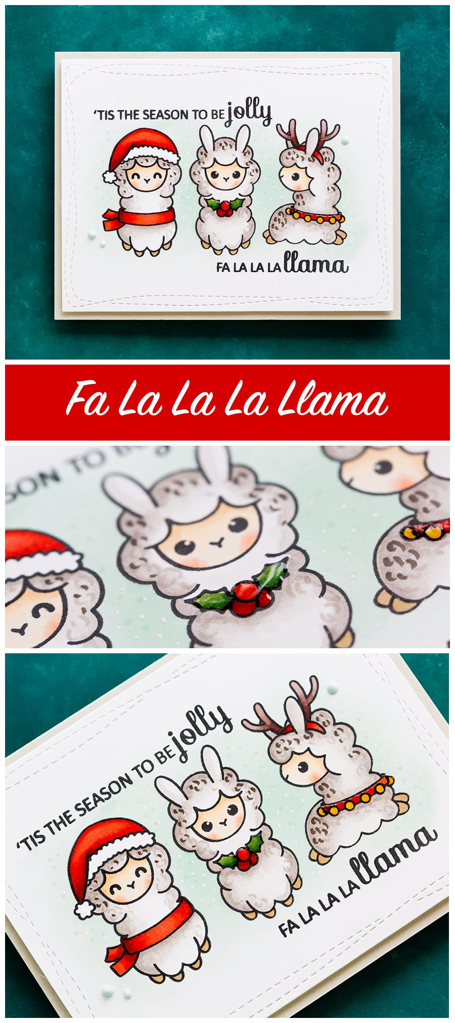Cute llama Christmas handmade card using the Clearly Besotted Little Llamas stamp set. Find out more here: https://limedoodledesign.com/2017/10/clearly-besotted-october-release-fa-la-la-la-llama/