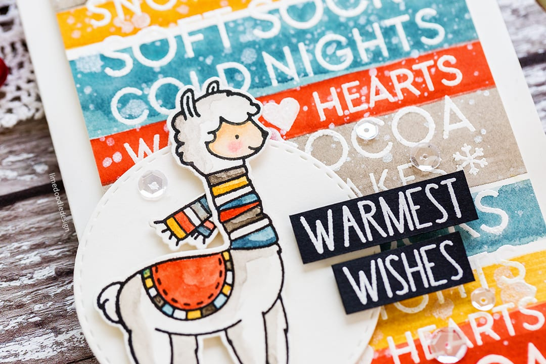 Cosy winter stripes watercoloured llama handmade Holiday card by Debby Hughes. Find out more here: https://limedoodledesign.com/2017/10/cosy-winter-stripes/