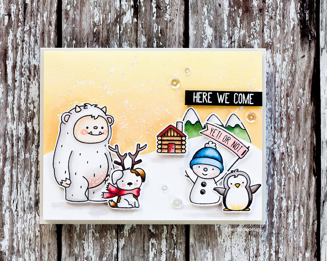 Here we come, yeti or not! Handmade holiday card by Debby Hughes using the new Get Yeti set from Neat & Tangled. Find out more here: https://limedoodledesign.com/2017/10/yeti-or-not-here-we-come-giveaway/