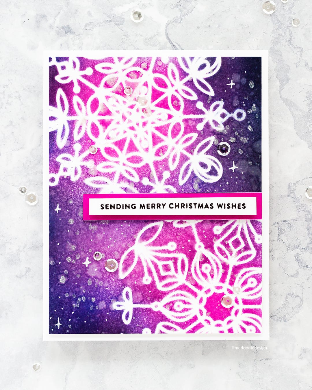 Frozen Fractals handmade Christmas card by Debby Hughes using the new Holiday release from Simon Says Stamp. Find out more here: https://limedoodledesign.com/2017/10/simon-says-stamp-holiday-release-blog-hop/