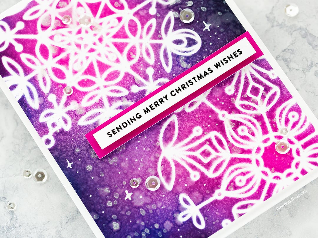 Frozen Fractals stencils - handmade Christmas card by Debby Hughes and a look at the new Holiday release from Simon Says Stamp. Find out more here: https://limedoodledesign.com/2017/10/delicate-stencil-snowflakes-simon-says-stamp-holiday-release/