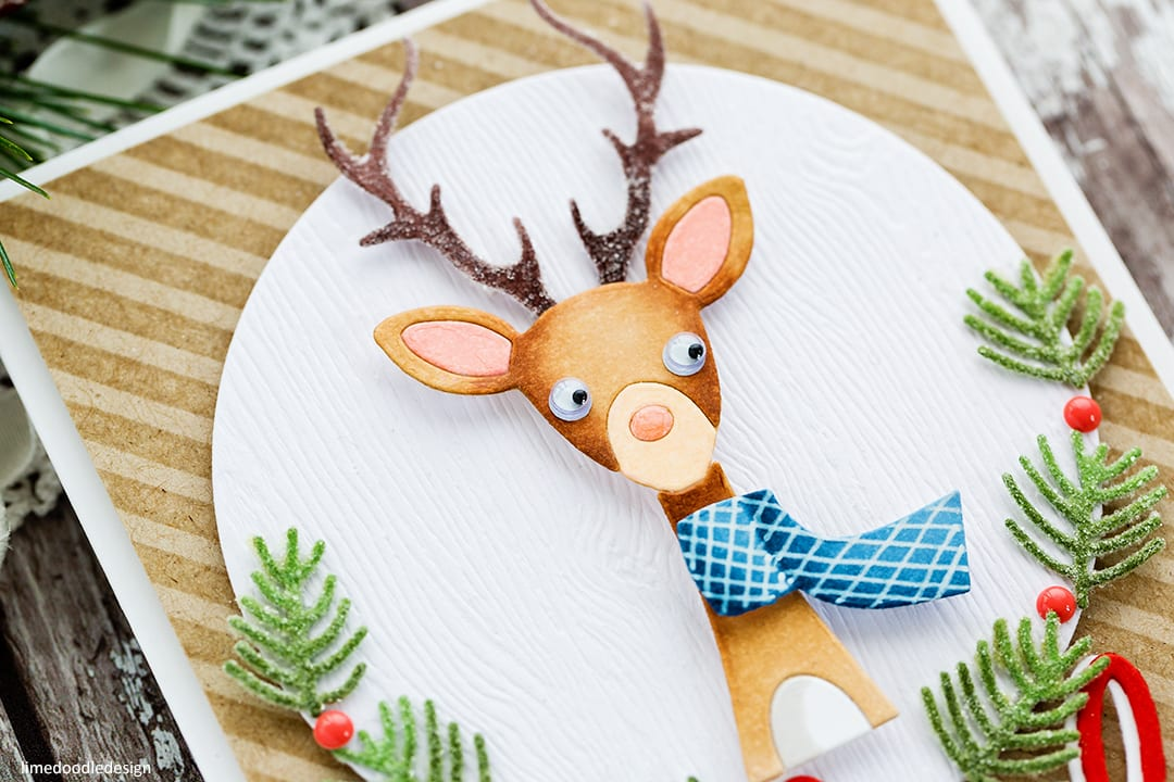 Cute picture book deer handmade Christmas card by Debby Hughes using the new Holiday release from Simon Says Stamp. Find out more here: https://limedoodledesign.com/2017/10/simon-says-stamp-holiday-release-blog-hop/
