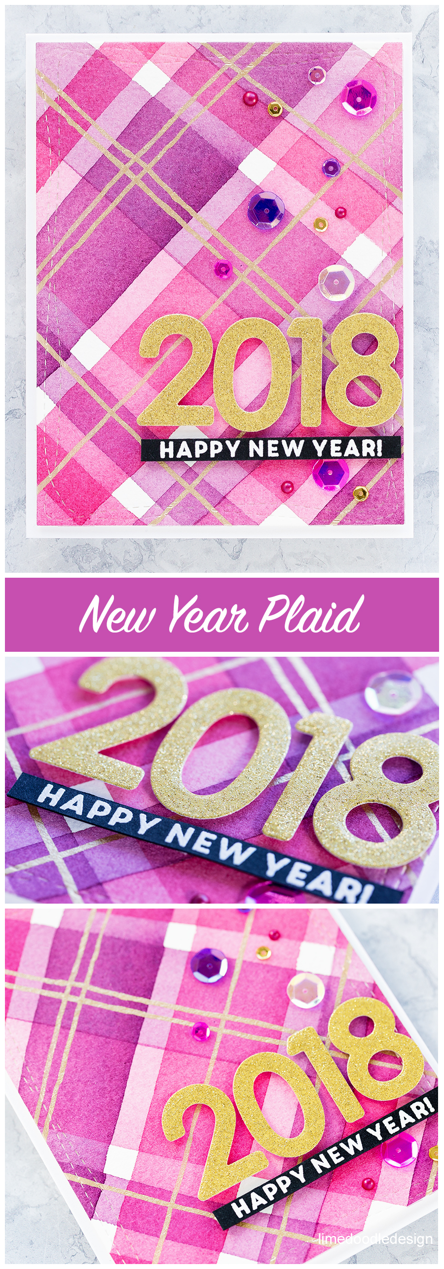 New Year watercolour plaid handmade card for World Cardmaking Day from Simon Says Stamp. Find out more here: https://limedoodledesign.com/2017/10/watercoloured-plaid-for-world-card-making-day/