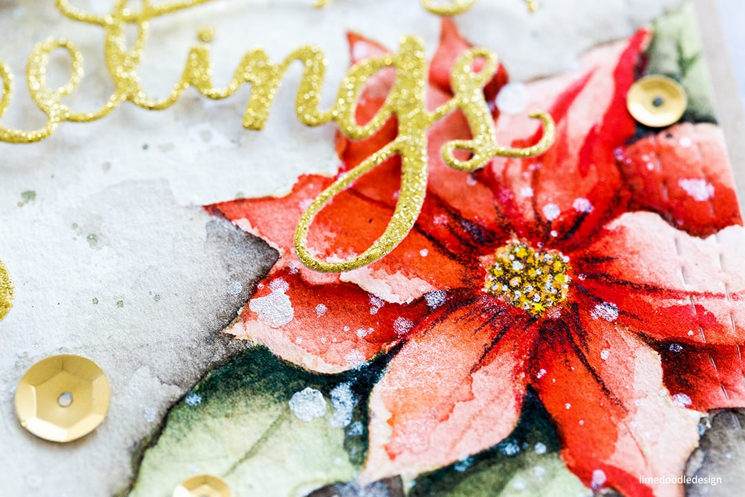 Watercoloured poinsettias handmade Christmas card by Debby Hughes. Find out more here: https://limedoodledesign.com/2017/10/watercoloured-poinsettias-blog-hop-giveaway/