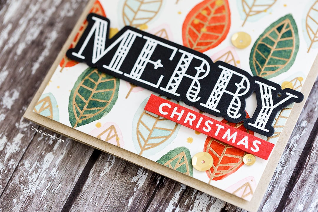 Watercoloured leaf pattern Holiday card by Debby Hughes using the Simon Says Stamp One With Nature set. Find out more here: https://limedoodledesign.com/2017/10/watercoloured-leaf-background/