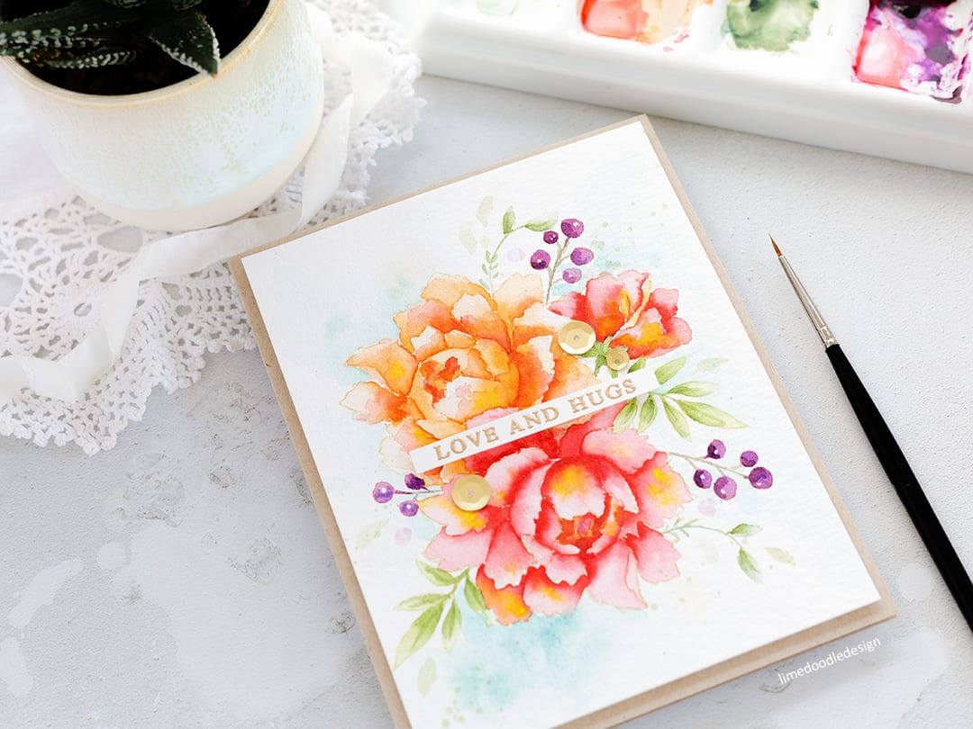 Watercoloured peonies handmade card by Debby Hughes using Altenew Peony Bouquet stamp set. Find out more here: https://limedoodledesign.com/2017/11/watercoloured-peonies/