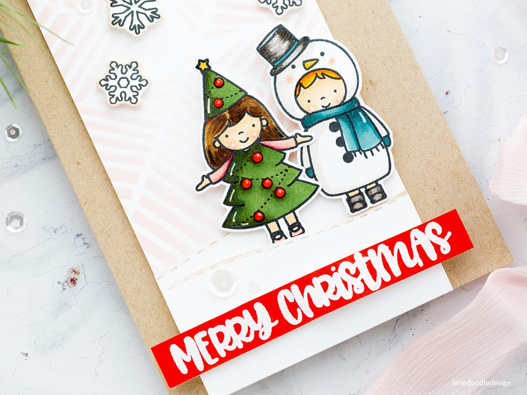 Soft, muted winter colours cute Christmas card by Debby Hughes using the Christmas Pageant set from Neat & Tangled. Find out more here: https://limedoodledesign.com/2017/11/muted-winter-colours/
