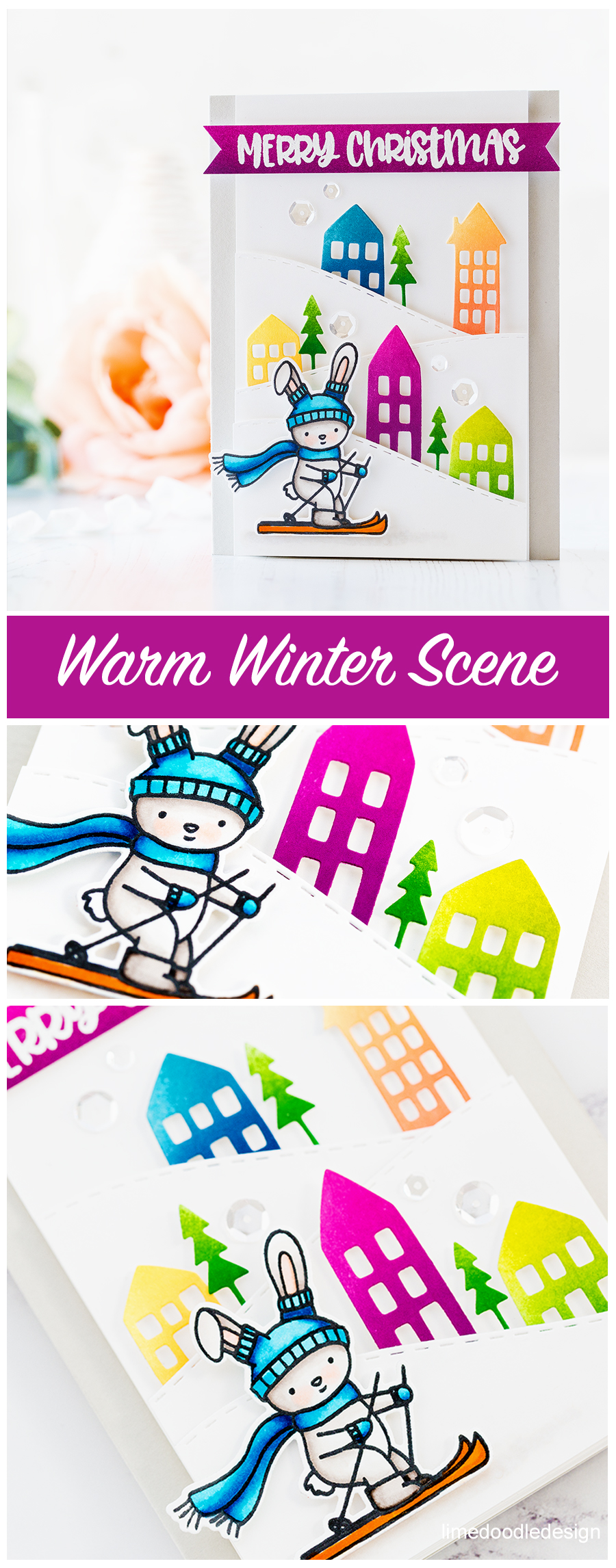 Cute warm winter scene handmade card by Debby Hughes using new products from Neat & Tangled. Find out more here: https://limedoodledesign.com/2017/11/bunny-slopes-rainbow-houses/