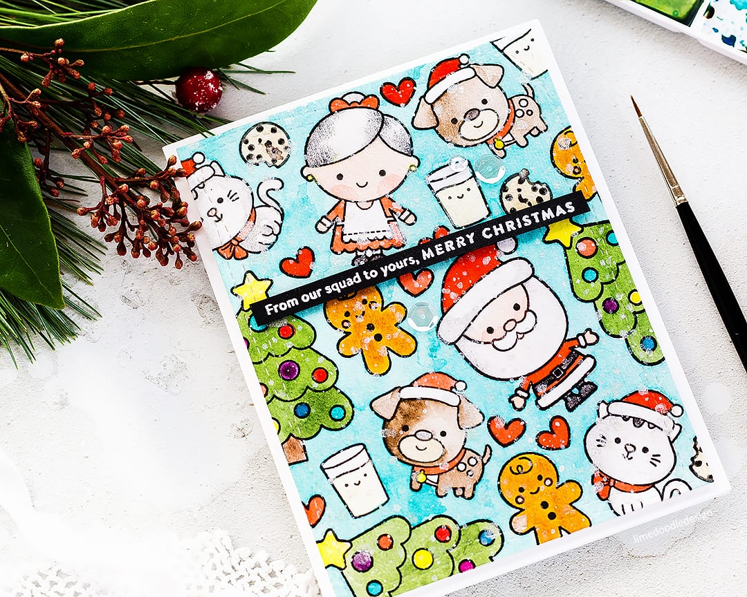Watercoloured cute Christmas card by Debby Hughes using the stamp set from the Simon Says Stamp December Card Kit. Find out more: https://limedoodledesign.com/2017/11/video-christmas-squad-sss-december-2017-card-kit/