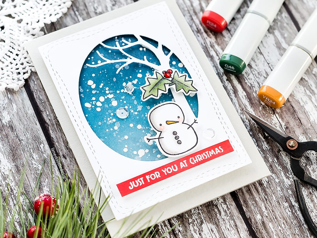Quick and easy winter scene for this cute Christmas card by Debby Hughes using the Merry & Bright set from Simon Says Stamp. Find out more about this handmade card here: https://limedoodledesign.com/2017/11/video-quick-easy-winter-scene/