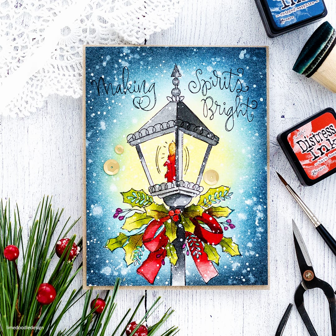 Watercoloured Holiday card by Debby Hughes using the new Watercolour Prints from Simon Says Stamp. Find out more here: https://limedoodledesign.com/2017/11/cyber-week-surprise-holiday-watercolour-prints/
