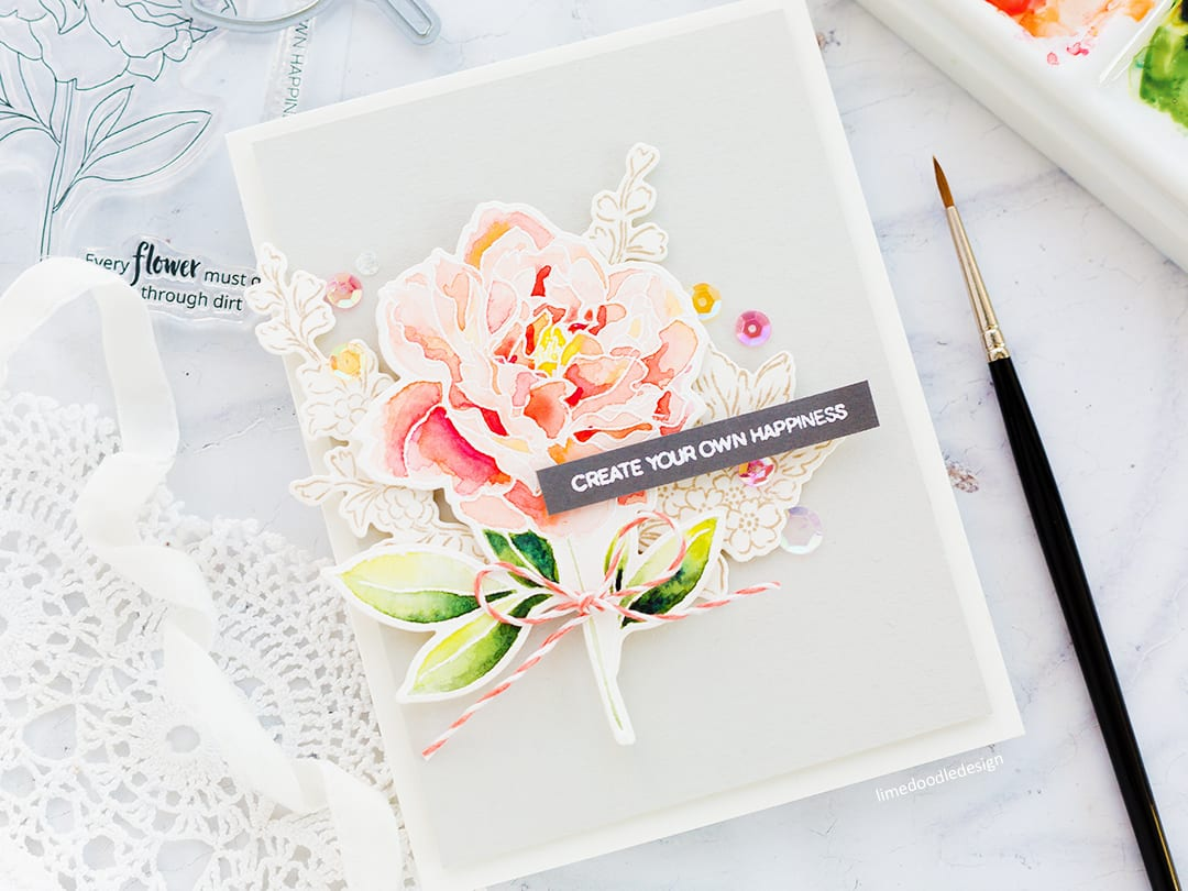 Watercoloured Peony handmade card by Debby Hughes using the new Peony Spray set from Altenew. I'm also taking a look at the new Mini Blossom Die Cutting Machine from Altenew. Find out more here: https://limedoodledesign.com/2017/12/video-altenew-december-release-blog-hop/