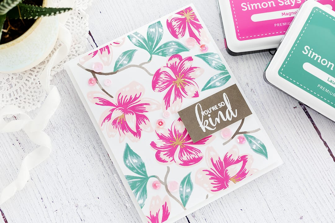 Stamped floral background handmade card by Debby Hughes using the new Magnolia Moments set from Clearly Besotted. Find out more here: https://limedoodledesign.com/2017/12/magnolia-moments-clearly-besotted-release/