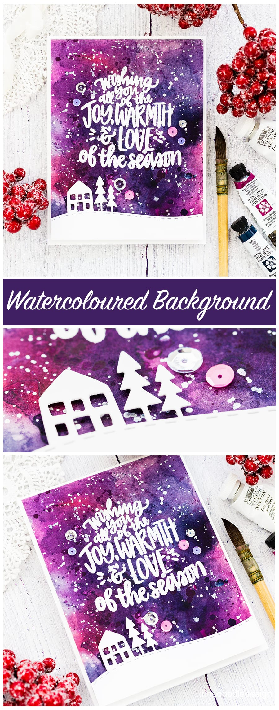 A fun watercoloured background showcases this beautiful Christmas sentiment. Handmade card by Debby Hughes. Find out more here: https://limedoodledesign.com/2017/12/joy-warmth-love-of-the-season/