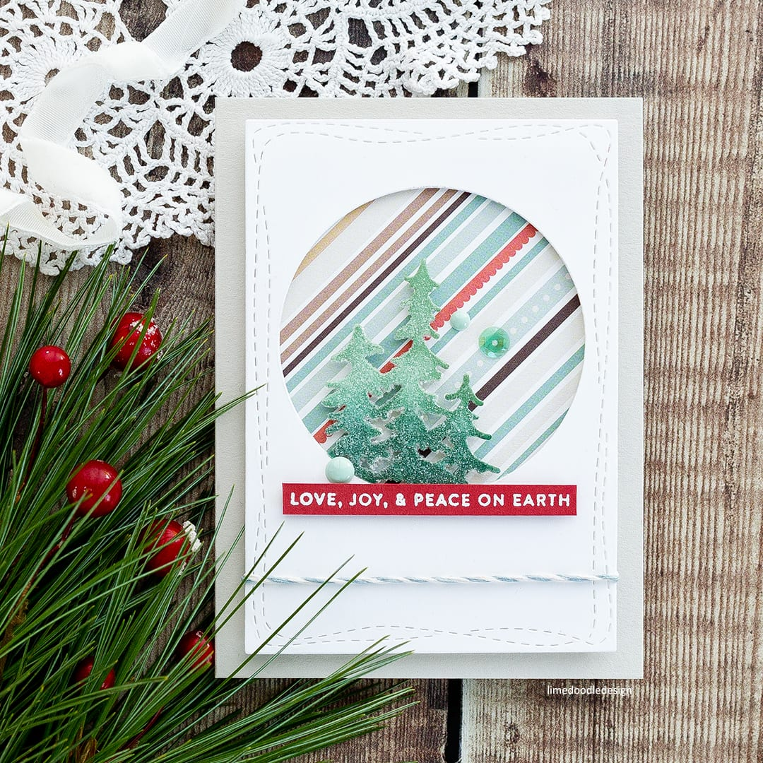 Clean and simple handmade Christmas card by Debby Hughes using the new Evergreen Circle die from Simon Says Stamp. Find out more here: https://limedoodledesign.com/2017/12/advent-calendar-extravaganza-with-taheerah-atchia-2/