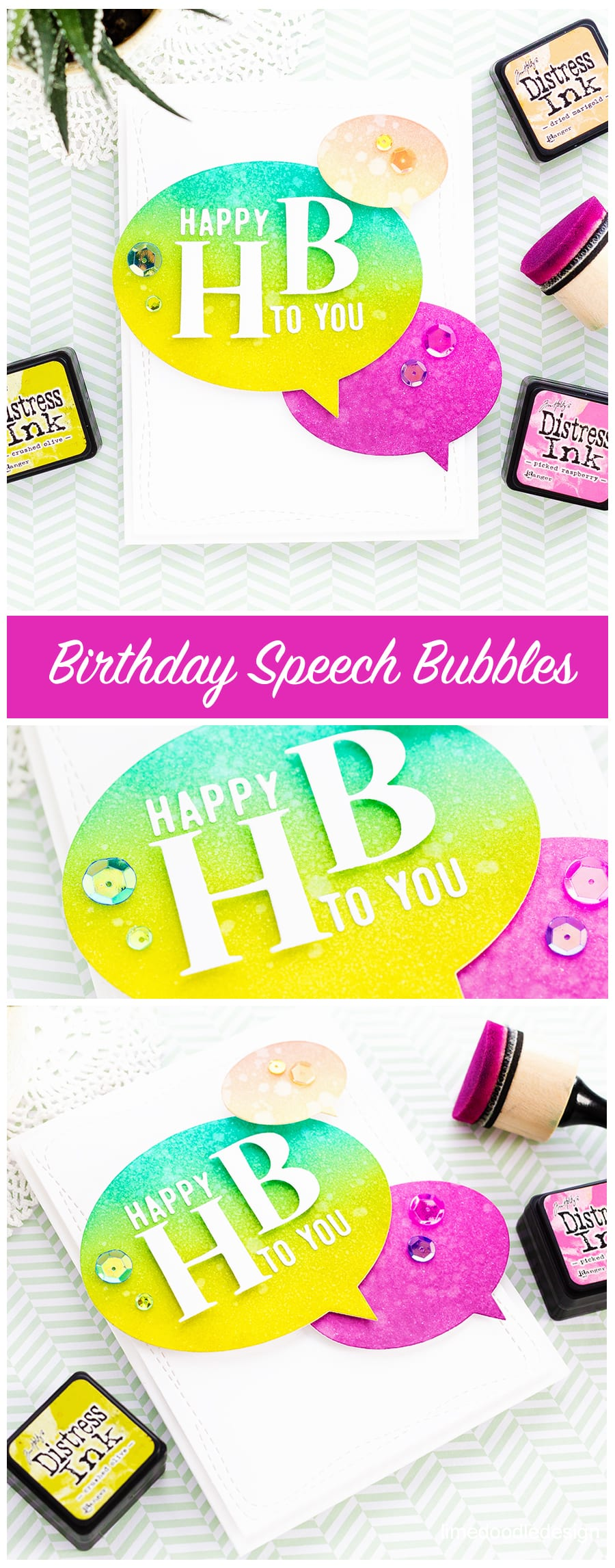 Fun, bright, modern handmade birthday card by Debby Hughes using products from the new Diecember release from Simon Says Stamp. Find out more here: https://limedoodledesign.com/2017/12/happy-hb-simon-says-stamp-diecember-release/