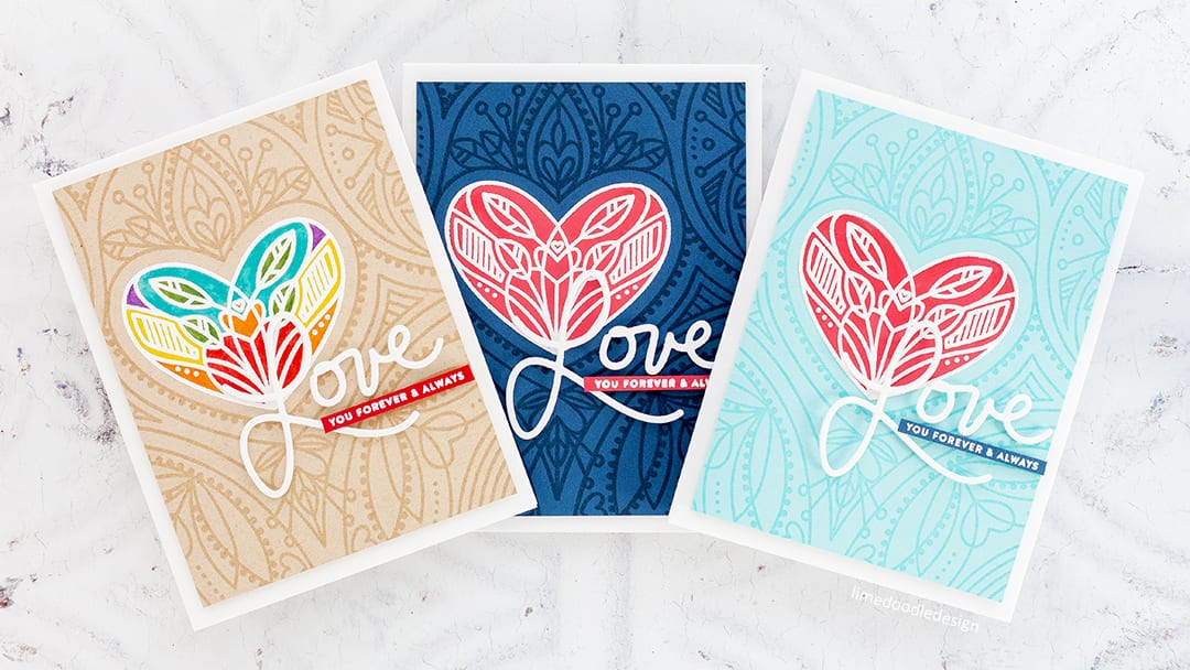 Partial heat embossing on these handmade Valentine's cards by Debby Hughes. Find out more here: https://limedoodledesign.com/2017/12/partial-heat-embossing/