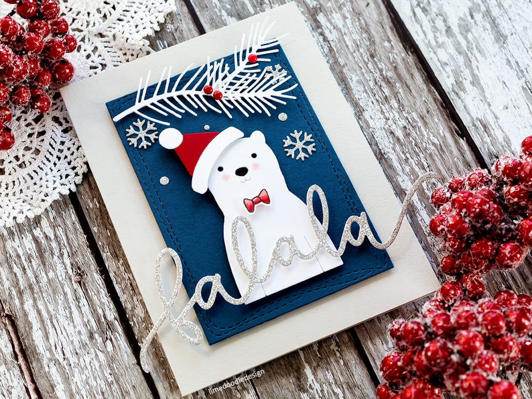 Die cutting is a quick, easy, no fuss way to create those last minute Christmas cards! Handmade polar bear card by Debby Hughes. Find out more: https://limedoodledesign.com/2017/12/the-dies-have-it/