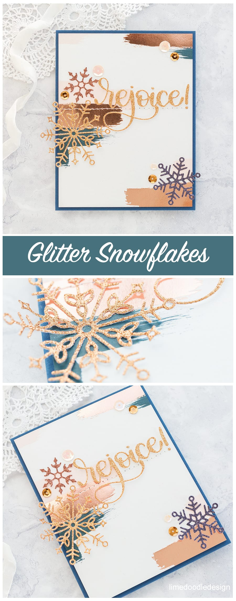 Glitter Snowflakes two ways - two handmade Holiday cards using new dies from Simon Says Stamp's DieCember release. Find out more here: https://limedoodledesign.com/2017/12/rejoice-simon-says-stamp-diecember-blog-hop/